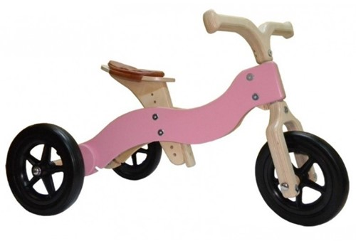 Van Dijk Toys Holz Laufrad Dike-Trike Rosa 2-in-1