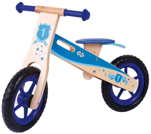 BigJigs Holz Laufrad Blau