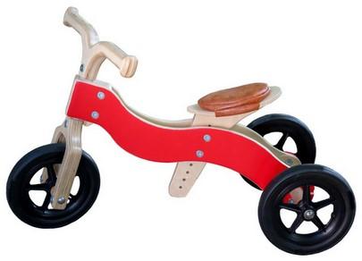 Van Dijk Toys Holz Laufrad Dike-Trike Rot 2-in-1